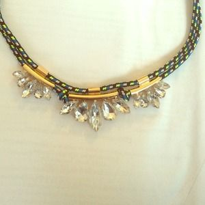 Jewelry - Crystal and neon cord necklace