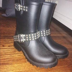 Steve Madden Rain Booties with Studded Buckle