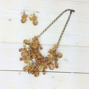 Jewelry - Amber Jeweled Statement Necklace & Earrings