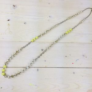 Long Necklace with Neon, White & Iridescent Beads