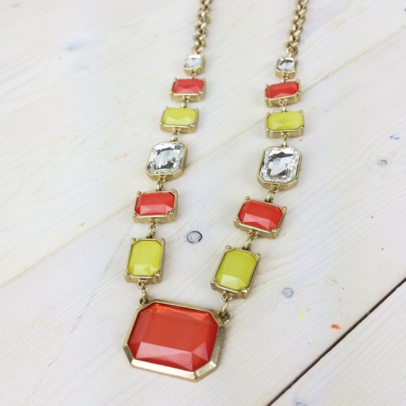 LOFT Jewelry - Coral, Neon Yellow, and Iridescent Long Necklace