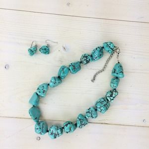 Jewelry - Turquoise Stone Necklace and Earring Set