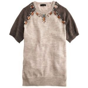 J Crew Jeweled Sweater Baseball Tee