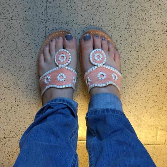 Jack Rogers Shoes - RARE! Jack Rogers Navajo Sandal Peach Suede