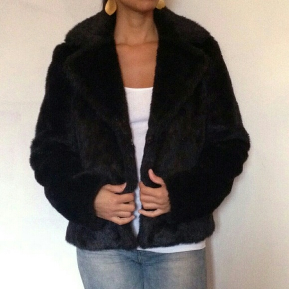H&m Black Faux Fur Coat