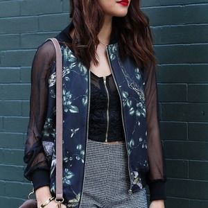 Jackets & Blazers - Black printed bomber jacket with sheer sleeves