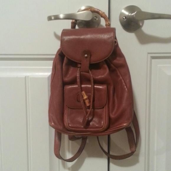 ccf81807eb8d Gucci Handbags - Vintage Brown Bamboo Gucci Mini Backpack