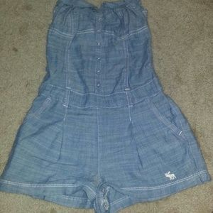 Abercrombie & Fitch Light wash Blue Jean Romper