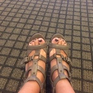 Army green caged heels