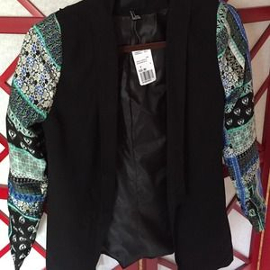 Forever 21 Printed Sleeve Black Blazer NWT Size S
