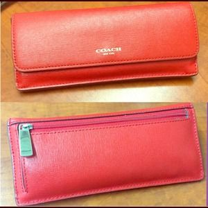 Coach Red Saffiano Leather Slim Wallet