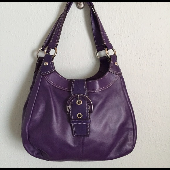 Coach Handbags - Coach Soho plum purple leather hobo handbag EXC