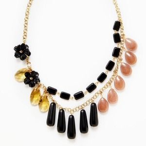 David Aubrey black flower and multi drop Necklace