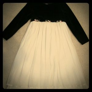 Girls black and white holiday dress with Velvet