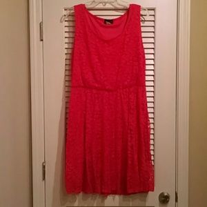 Bright pink/red lace party dress