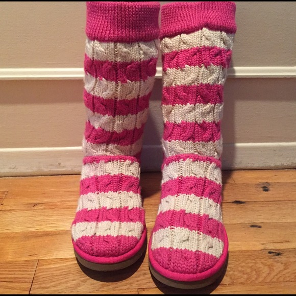 pink and white uggs