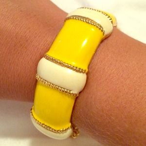 J.CREW Gold bangle with yellow and cream stripes