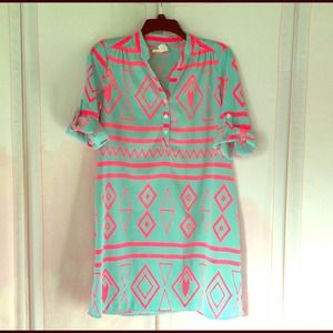 Dresses & Skirts - Hot Pink/Mint Aztec Shirt-dress