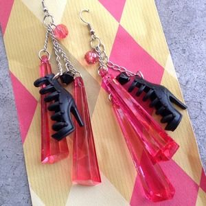 Jewelry - Handmade Barbie Black Heels Earrings