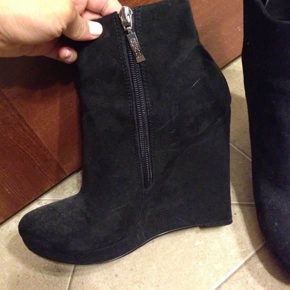 79 guess boots guess black suede wedge booties from