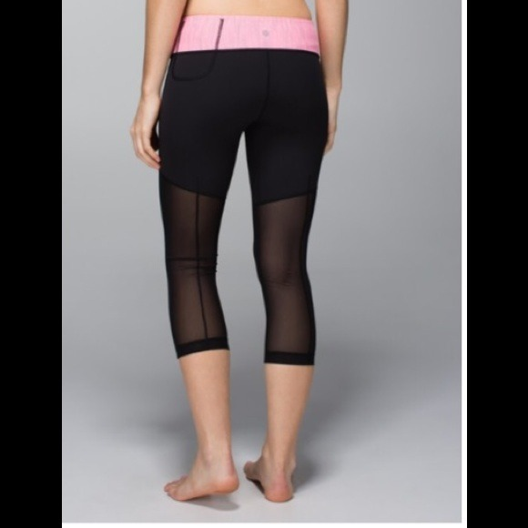 100% off lululemon athletica Pants - Lululemon Mesh Crop with Pink ...