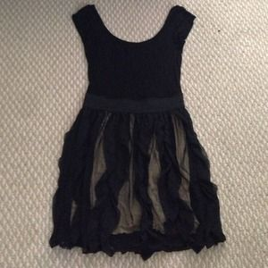 Black Mini Dress W/ Ruffled Skirt (NWOT)