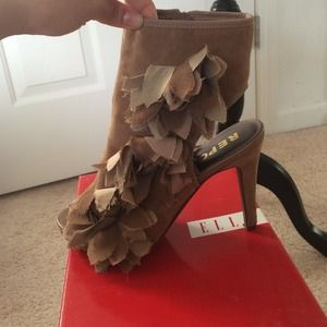 Open toe open heel suede booties