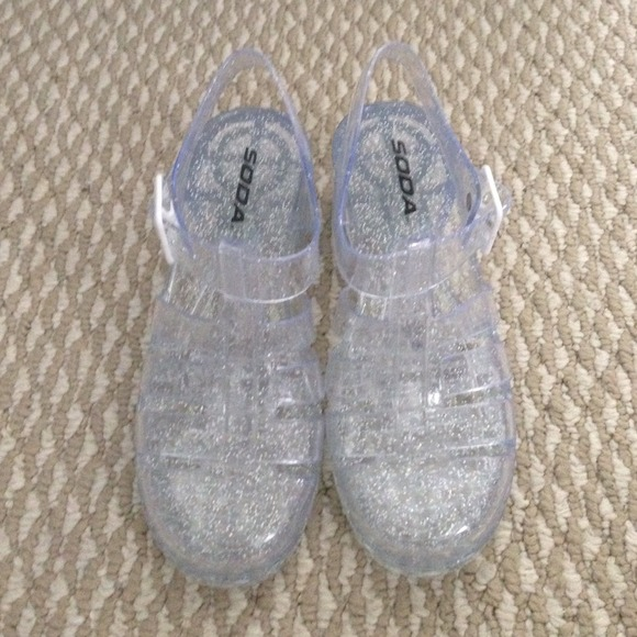 1b3fa15923ca American Apparel Shoes - Clear Sparkly Heeled Jelly Sandals
