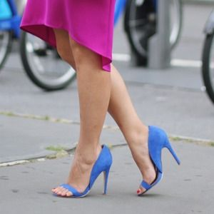 JustFab Shoes - Blue Suede Strappy Heels