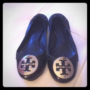Two tone black Tory Burch Reva Flats