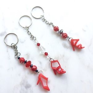 Accessories - Handmade Red Barbie Shoe Keychains - Set of 3