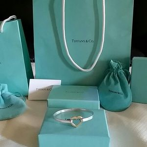 Authentic Tiffany & Co open heart bangle 18k