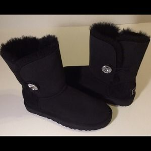 UGG Shoes - UGG Australia black diamond button short boot sz 7