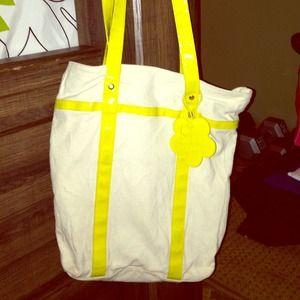 Large canvas purse with yellow straps