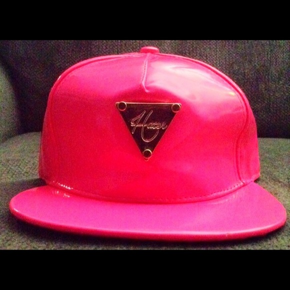 hater Accessories - Neon pink HATER SNAPBACK HAT Gold   metal plate 082214d6a52