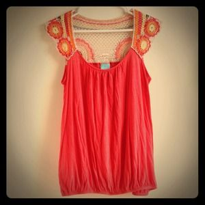 Coral Crochet Floral Back Top