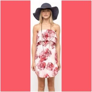 Red, White & Pink Floral Ruffle Roxy Dress