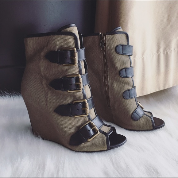 Khaki 36 Leather Shoes Canvas Ash Wedge Booties Poshmark 6Sw45q8