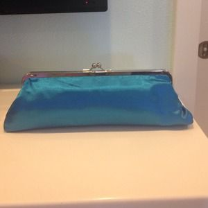 Blue satin looking clutch
