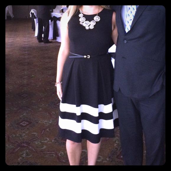 Calvin Klein Dresses Black With White Stripes Dress Poshmark