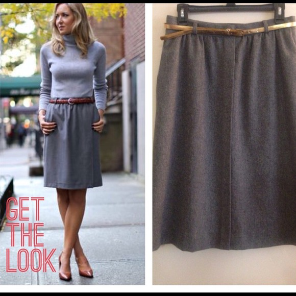 69% off Vintage Dresses & Skirts - ✂️Vintage gray wool A-line ...