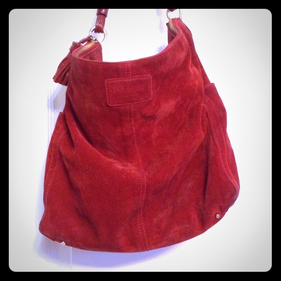 87% off kate spade Handbags - Kate spade red suede leather hobo ...