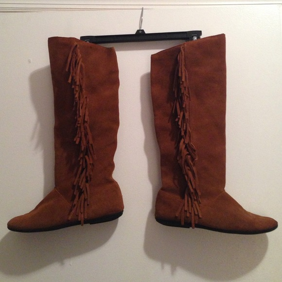 74% off Target Boots - Brown suede knee high fringe boots from ...