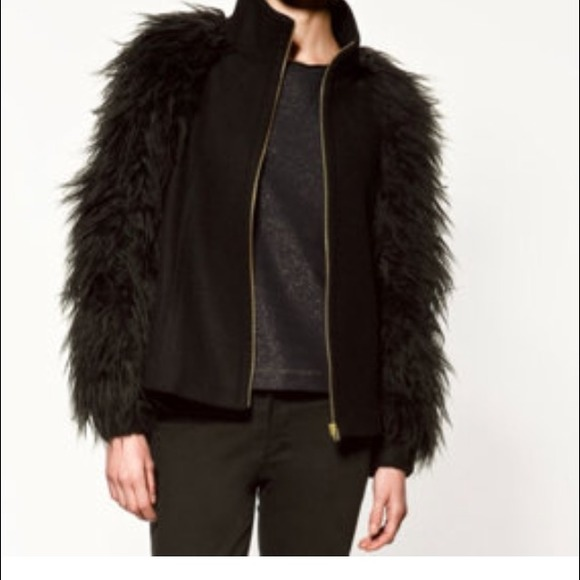 47% off Zara Jackets &amp Blazers - HP💐🌼🌟ZARA black Fur Sleeve