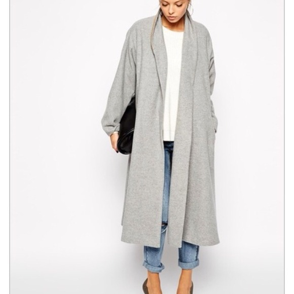 Unknown - Grey Long Sleeve Lapel Pockets Oversized Coat from Mrs&39s