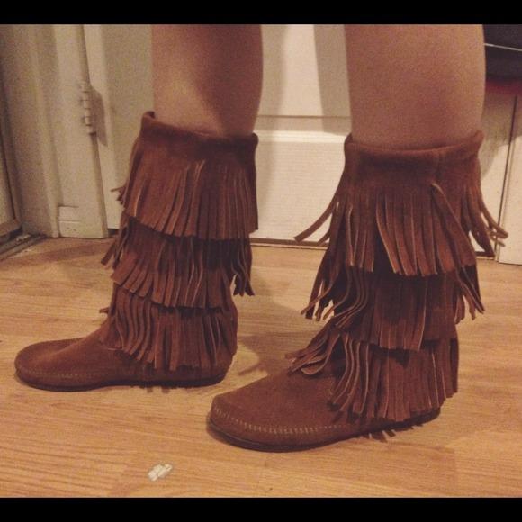 60% off Minnetonka Boots - Minnetonka Moccasin Triple Fringe Boots ...
