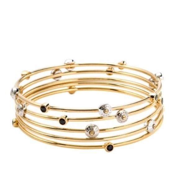 Henri Bendel Jewelry Rivet Stack Gold Crystal Bangle Set Poshmark