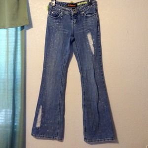 DOLLHOUSE DESTROYED FLARE DENIM