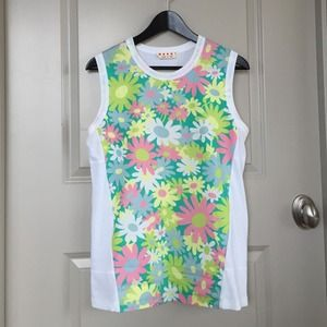 Authentic MARNI flower tank top SS12 size IT42 US6