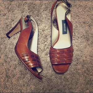 Authentic BALLY Leather Slingbacks